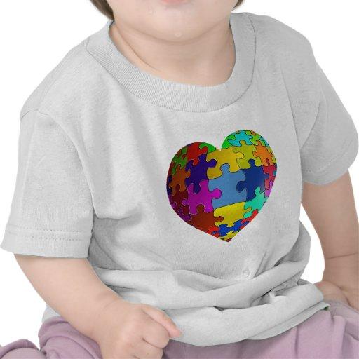 Autism Awareness Puzzle Heart Tee Shirt