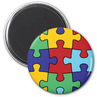 Autism Awareness Puzzle Pattern Magnet