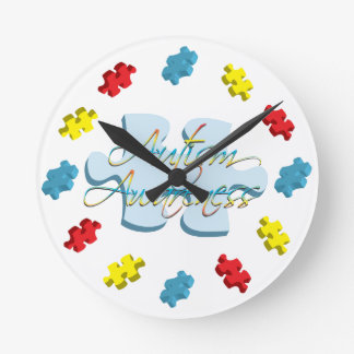 Autism Awareness Puzzle Piece Wall Clock