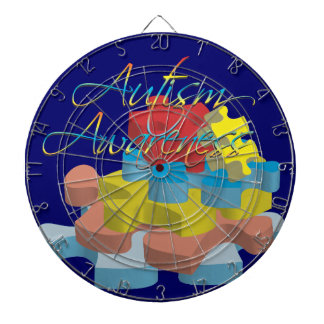 Autism Awareness Puzzle Pieces Dk Blue Dart Board