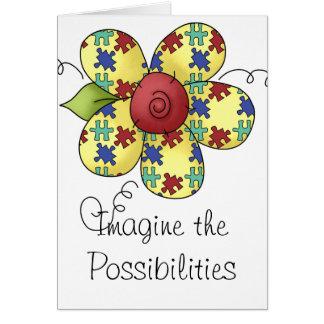 Autism Awareness Puzzle Pieces Flower Design Card
