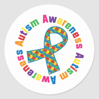 Autism Awareness Puzzle Ribbon Round Sticker