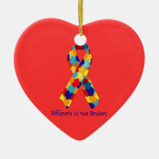 Autism Awareness Puzzle Support Ribbon Ceramic Heart Ornament