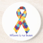 Autism Awareness Puzzle Support Ribbon Coaster