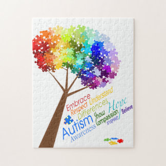 Autism Awareness Puzzle Tree