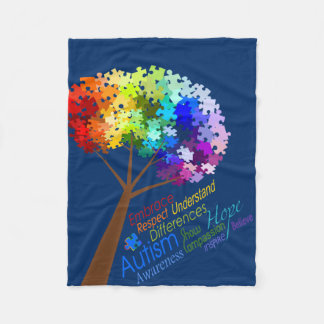 Autism Awareness Puzzle Tree with Words Fleece Blanket