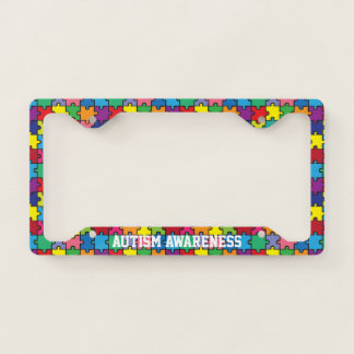 Autism Awareness Rainbow Puzzle Pattern Licence Plate Frame