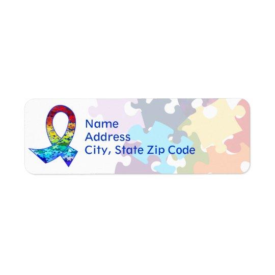 Autism Awareness Rainbow Puzzle Ribbon