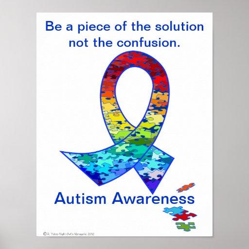 Autism Awareness Rainbow Puzzle Ribbon Poster
