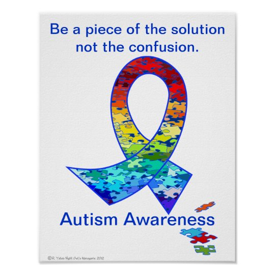 Autism Awareness Rainbow Puzzle Ribbon Poster