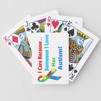 Autism awareness ribbon design bicycle playing cards