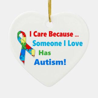 Autism awareness ribbon design ceramic heart ornament