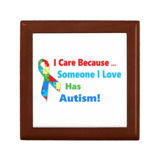 Autism awareness ribbon design gift box