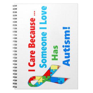 Autism awareness ribbon design notebooks