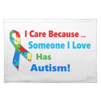Autism awareness ribbon design placemat