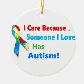 Autism awareness ribbon design round ceramic ornament