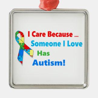 Autism awareness ribbon design Silver-Colored square ornament