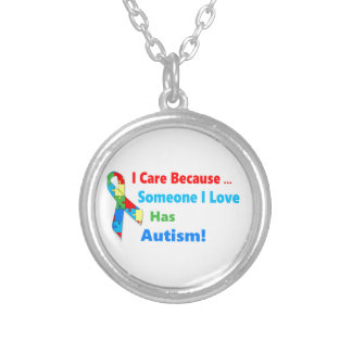 Autism awareness ribbon design silver plated necklace