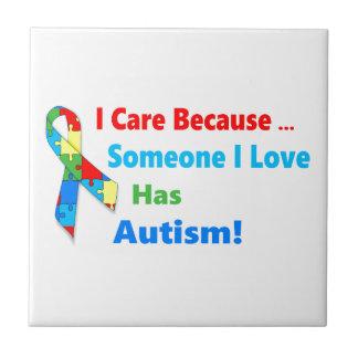 Autism awareness ribbon design tile