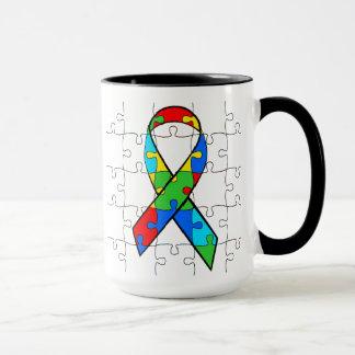 Autism Awareness Ribbon Heart Puzzle Pieces Mug