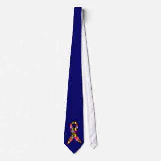 Autism Awareness Ribbon in Jigsaw Pattern Tie