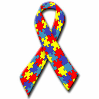 Autism Awareness Ribbon Pin Photo Sculpture Button