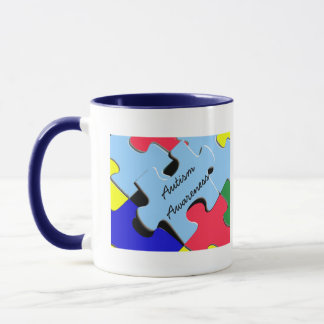 Autism Awareness Ribbon Puzzle Heart Mug
