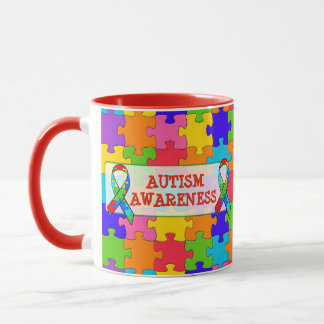 Autism Awareness Ribbon Puzzle Pieces Mug