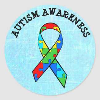 Autism Awareness Ribbon Puzzle Stickers