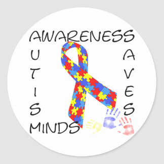 Autism Awareness Saves Minds Classic Round Sticker