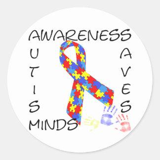 Autism Awareness Saves Minds Round Sticker