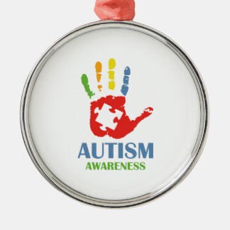 Autism Awareness Silver-Colored Round Ornament