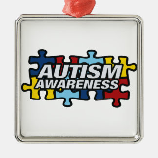 Autism Awareness Silver-Colored Square Ornament