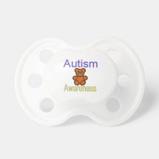 autism awareness teddy bear with ribbon pacifiers