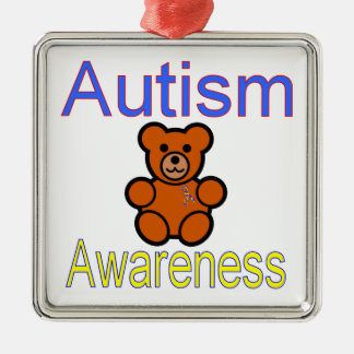autism awareness teddy bear with ribbon Silver-Colored square ornament