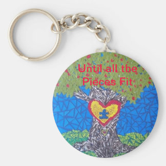 Autism Awareness Tree Cut Out Basic Round Button Keychain