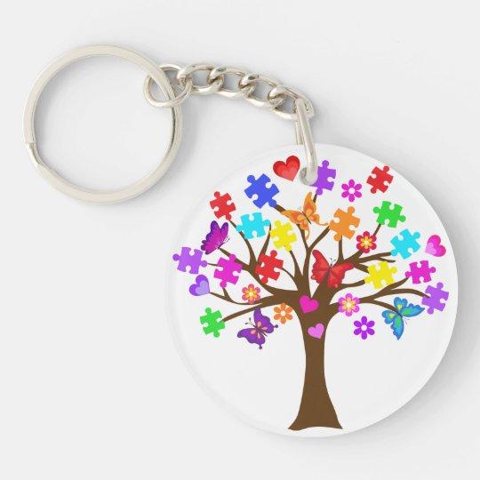 Autism Awareness Tree Double-Sided Round Acrylic Keychain