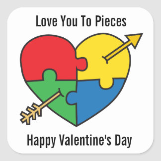 Autism Awareness Valentine's Day Puzzle Heart Square Sticker