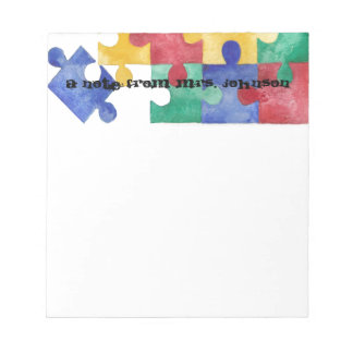 Autism Awareness watercolor puzzle notepad