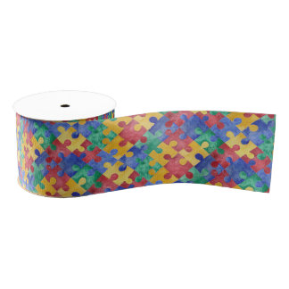 Autism Awareness watercolor puzzle ribbon Grosgrain Ribbon