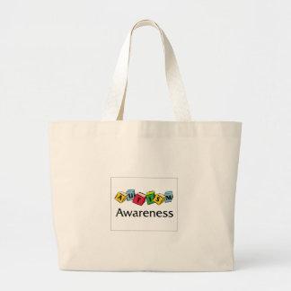 Autism Blocks Large Tote Bag