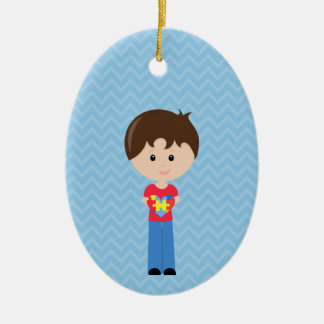 Autism Boy personalizable upon request Ceramic Oval Ornament