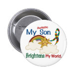 Autism BRIGHTENS MY WORLD 1 Son 2 Inch Round Button