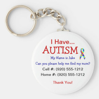 Autism Child ID Zipper Pull (Changeble Text) Basic Round Button Keychain