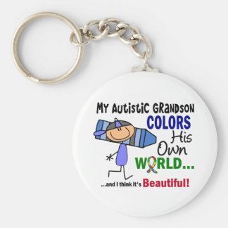 Autism COLORS HIS OWN WORLD Grandson Basic Round Button Keychain