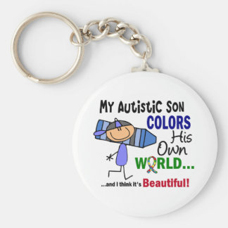 Autism COLORS HIS OWN WORLD Son Basic Round Button Keychain