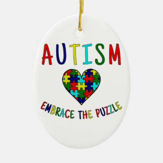 Autism Embrace The Puzzle Ceramic Ornament