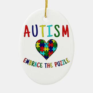 Autism Embrace The Puzzle Ceramic Oval Ornament