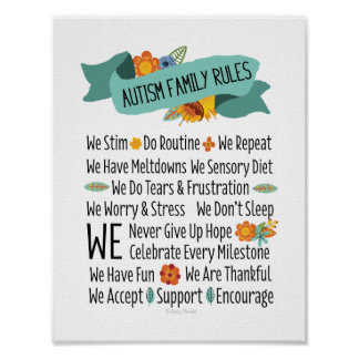Autism Family House Rules Poster