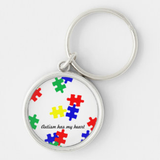 Autism has my heart....key chain Silver-Colored round keychain